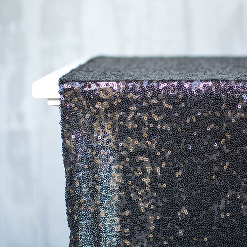 Sequin Table Runner, Glitter Fabric, Sparkle, 12 x 108 in, Black