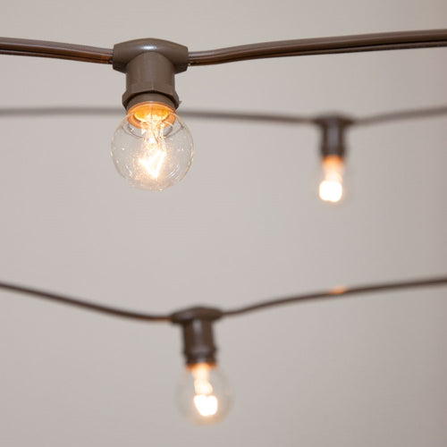 Commercial Globe String Lights, 25ft E12 Brown Wire, G30 Bulbs, Clear