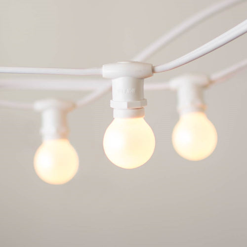 Commercial Globe String Lights, 25ft E12 White Wire, G30 Bulbs, Pearl