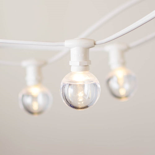 Commercial Globe Lights, 25ft E12 White Wire, Acrylic LED G40 Bulbs, Warm White