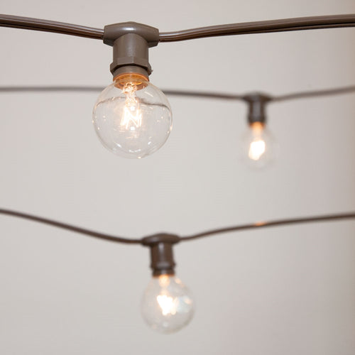 Commercial Globe String Lights, 25ft E12 Brown Wire, G40 Bulbs, Clear
