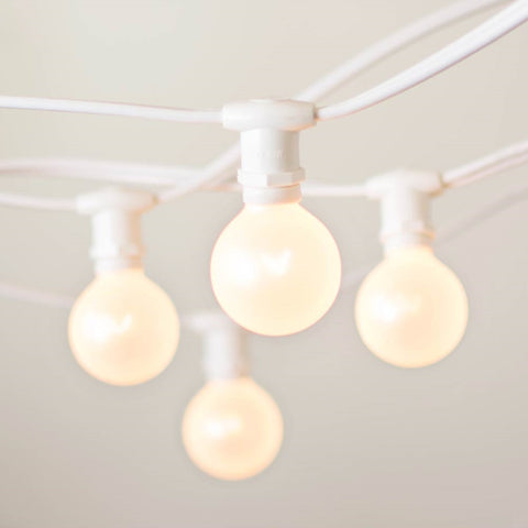 Commercial Globe String Lights, 50ft E12 White Wire, G40 Bulbs, Yellow