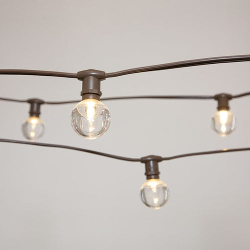 Commercial Globe Lights, 50ft E12 Brown Wire, Acrylic LED G40 Bulbs, Warm White