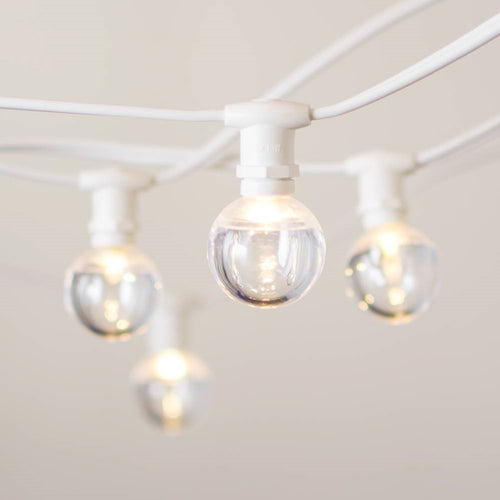 Commercial Globe Lights, 50ft E12 White Wire, Acrylic LED G40 Bulbs, Warm White