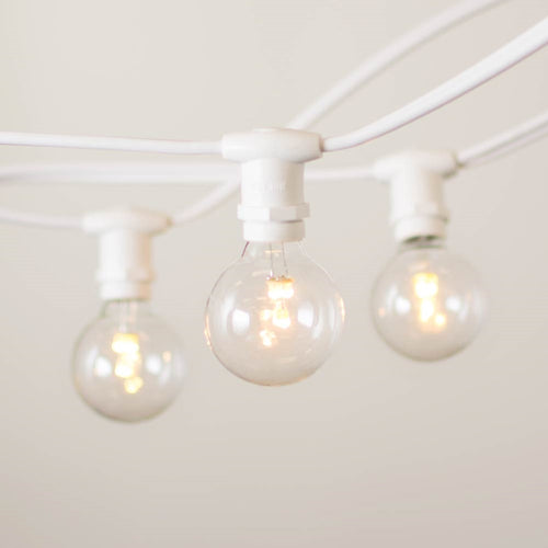 Commercial Globe Lights, 25ft E12 White Wire, LED G40 Bulbs, Warm White