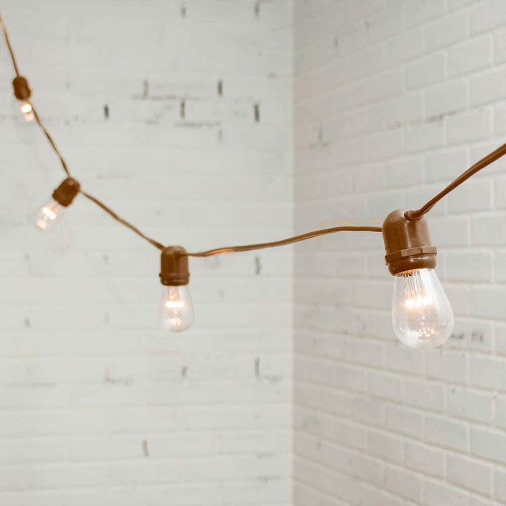 Buy LED Commercial Edison String Lights, 37 Ft Brown Wire, S14, Warm ...