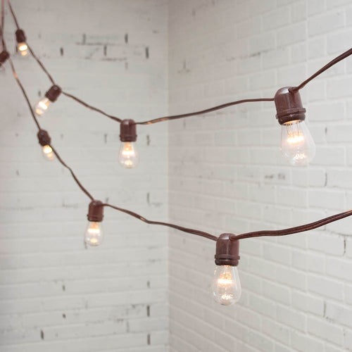 LED Commercial Edison String Light, 104 Ft Brown Wire, S14, Warm White