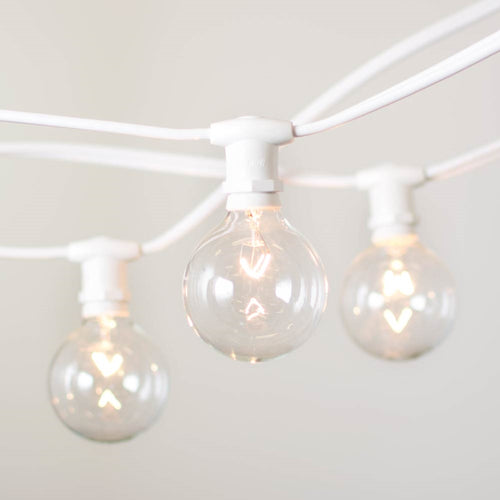 Commercial Globe String Lights, 25ft E12 White Wire, G50 Bulbs, Clear