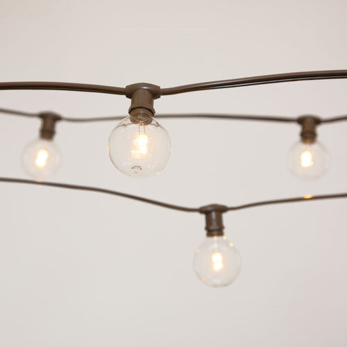 Commercial Globe String Lights, 50ft E12 Brown Wire, G50 Bulbs, Clear