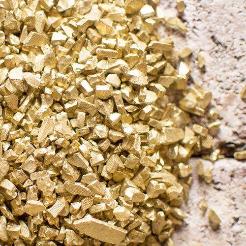 Vase Filler, 4.2 pounds, Crushed Glass Fragments, Assorted Sizes, Gold