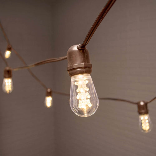 LED Commercial Edison String Light, 104 Ft Brown Wire, Acrylic S14 Bulbs, Warm White