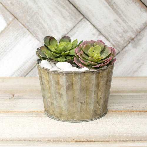 Corrugated Vase, Ribbed Planter Pot, 4.5 inch, Galvanized Metal