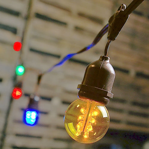 Commercial Drop Globe String Lights, 37ft Brown Wire, G50 LED Multicolor