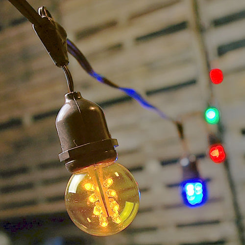 Commercial Drop Globe String Lights, 106ft Brown Wire, G50 LED Multicolor