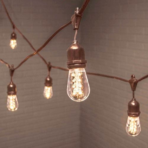 Commercial Edison Drop String Lights, Acrylic LED, 106 ft, Brown Wire, Warm White