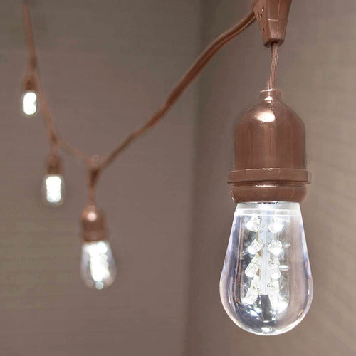 Commercial Edison Drop String Lights, Acrylic LED, 37 ft, Brown Wire, Cool White