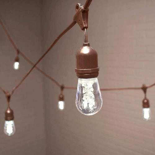Commercial Edison Drop String Lights, Acrylic LED, 106 ft, Brown Wire, Cool White