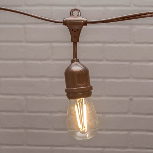 Commercial Edison Drop String Lights, S14 Dimmable LED, 37ft Brown Wire, Warm White