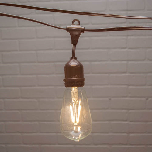 Commercial Edison Drop String Lights, ST58 Dimmable LED, 106ft Brown Wire, Warm White