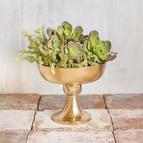 Metal Compote, Distressed Round Bowl with Stem, 6.75 inch, Rose Gold