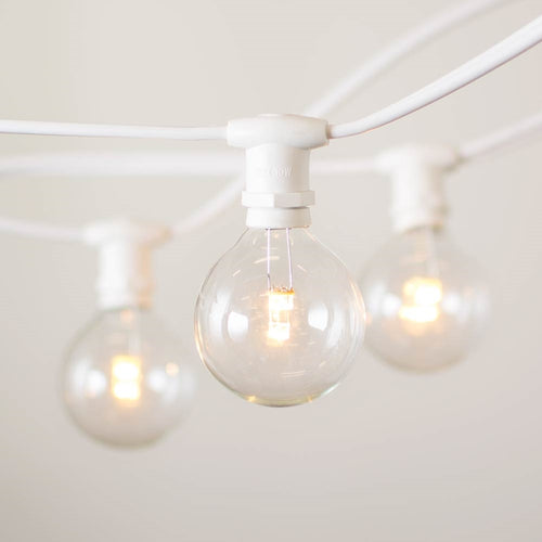Commercial Globe Lights, 25ft E12 White Wire, LED G50 Bulbs, Warm White