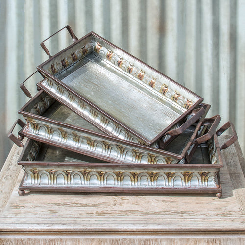 Serving Trays, Decorative Metal Platters, Rectangle, 20-24in, Set of 3