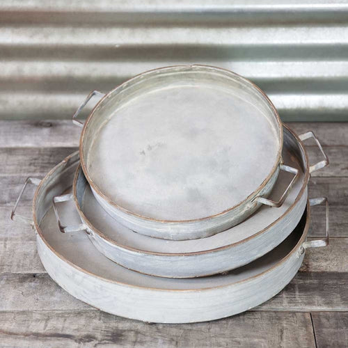 Serving Trays, Footed Metal Platters with Handles, Round, Set of 3