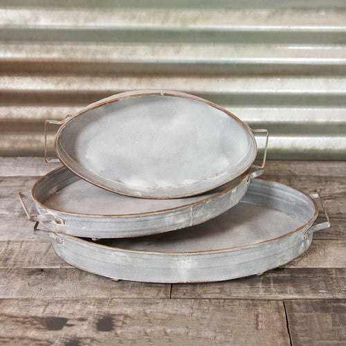 Serving Trays, Footed Metal Platters with Handles, Oval, Set of 3