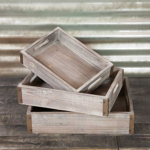 Serving Trays, Rectangle Wood with Metal Corners, 13 - 17 in, Set of 3