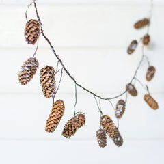 Pine Cone Garland, Bendable Decorative Glitter Branch, 5 feet, Brown