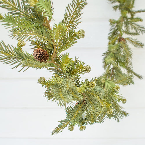 Fir & Pine Cone Garland, Realistic Swag, 6 feet, Green