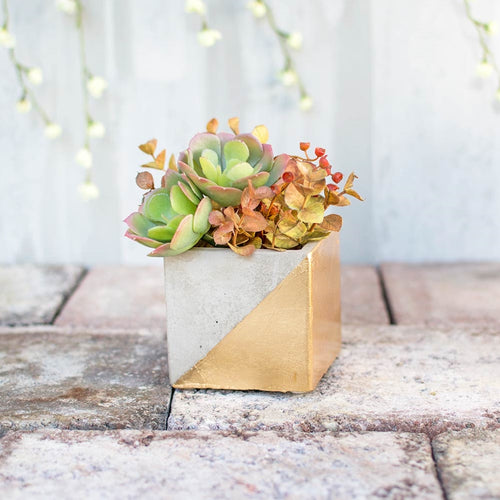 Concrete Vase, Dipped Planter Pot, Square Candle Holder, 3.25 in, Gold