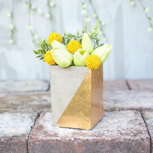 Concrete Vase, Planter Pot, Rectangular Candle Holder, 4.75 in, Gold