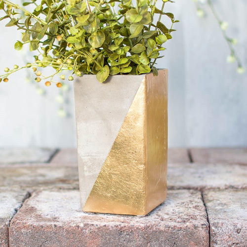 Concrete Vase, Planter Pot, Rectangular Candle Holder, 6.5 in, Gold
