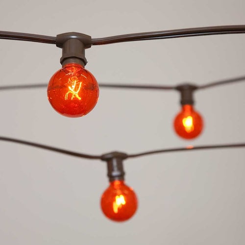 Commercial Globe String Lights, 25ft E12 Brown Wire, G40 Bulbs, Orange