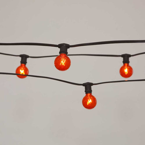 Commercial Globe String Lights, 50ft E12 Black Wire, G40 Bulbs, Orange