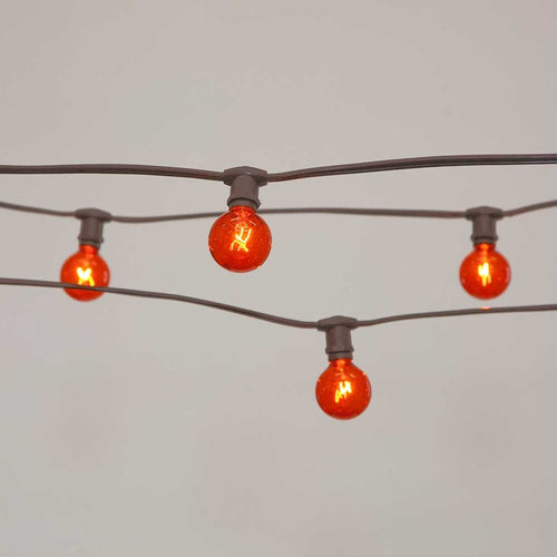 Commercial Globe String Lights, 50ft E12 Brown Wire, G40 Bulbs, Orange