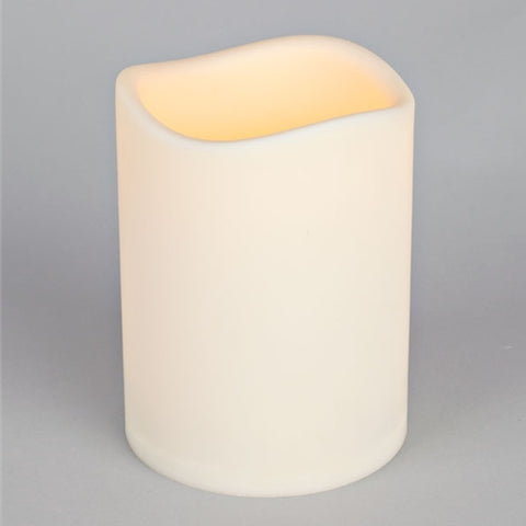 Flameless LED Pillar Candle, Indoor-Outdoor, 3'' x 4'' with Wavy Edge, Timer Feature