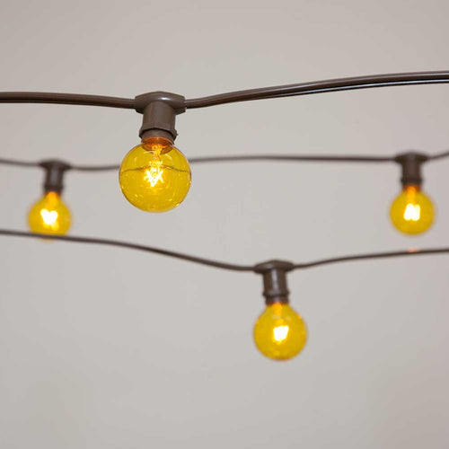 Commercial Globe String Lights, 50ft E12 Brown Wire, G40 Bulbs, Yellow