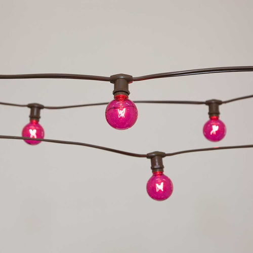 Commercial Globe String Lights, 50ft E12 Brown Wire, G40 Bulbs, Pink
