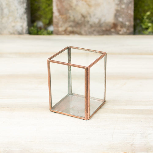 Terrarium Display Box, Industrial Candle Holder, Clear, 4 inch, Copper