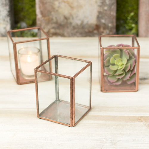 Terrarium Display Boxes, Industrial Candle Holders, 4 in, Copper, 6 Pk