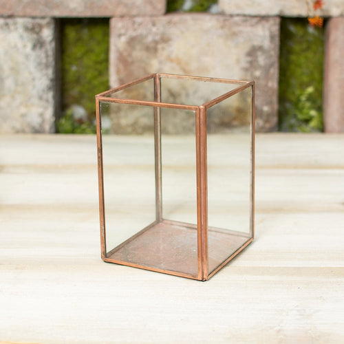 Terrarium Display Box, Industrial Candle Holder, Clear, 6 inch, Copper