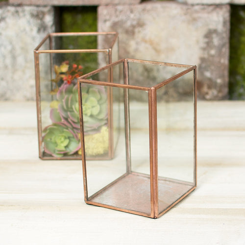 Terrarium Display Boxes, Industrial Candle Holders, 6 in, Copper, 4 Pk