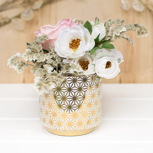 Star Ceramic Vase, Geometric Flower Pattern Pot, 4.75 in, White & Gold