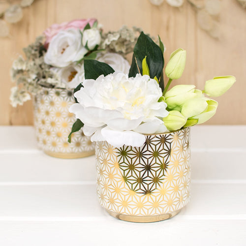 Star Ceramic Vase, Geometric Flower Pattern, 4.75in, White & Gold, 4Pk