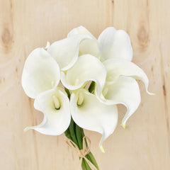 Real Touch Calla Lily Flowers, Artificial, 14 inch, White, 9 Piece