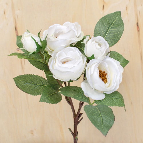 Rose, Artificial 5 Bloom Spray, Faux Flowers, 29 inch, White