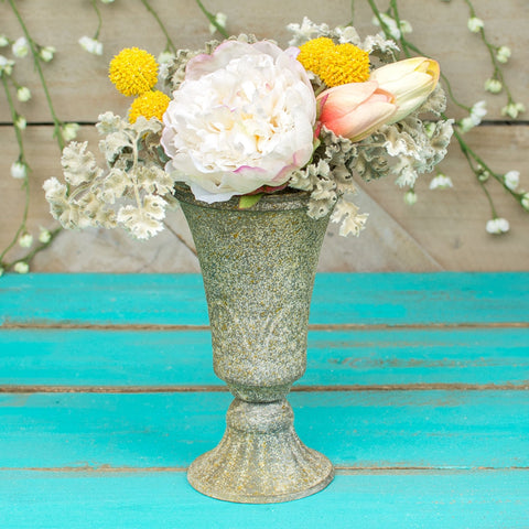 Clear Glass Compote Vase with Pedestal, 9.75 in. x 6.25 in., Ruffled