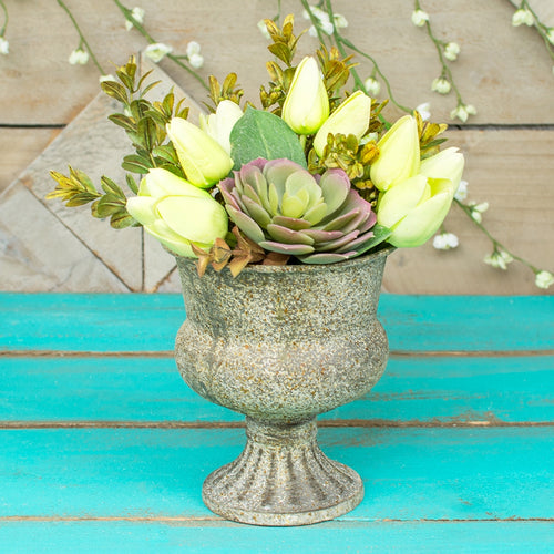Rustic Compote, Metal Vase, Decorative Urn, 6 inch, Antique Grey